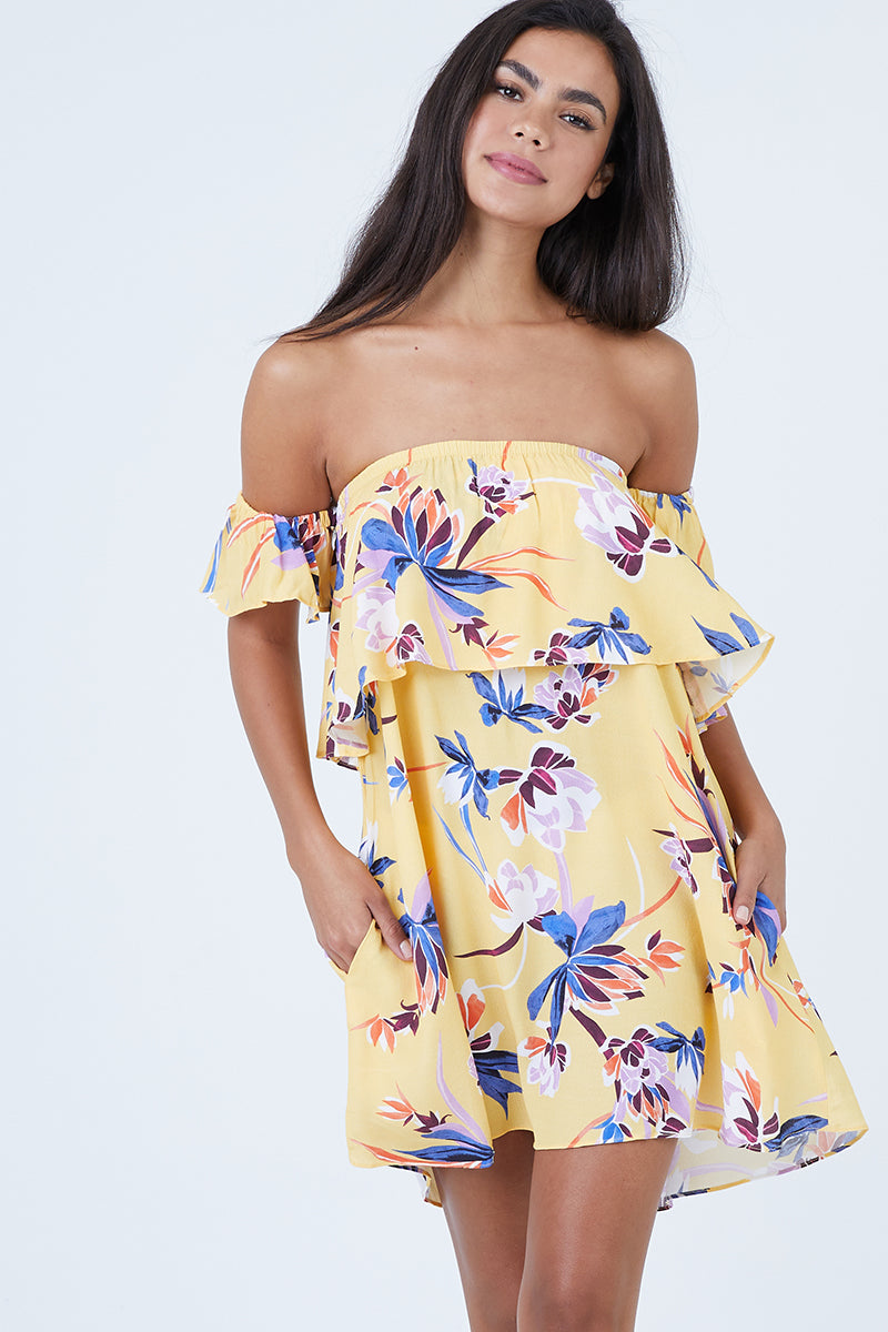Malibu Off Shoulder Mini Dress - Sunset Jungle Print