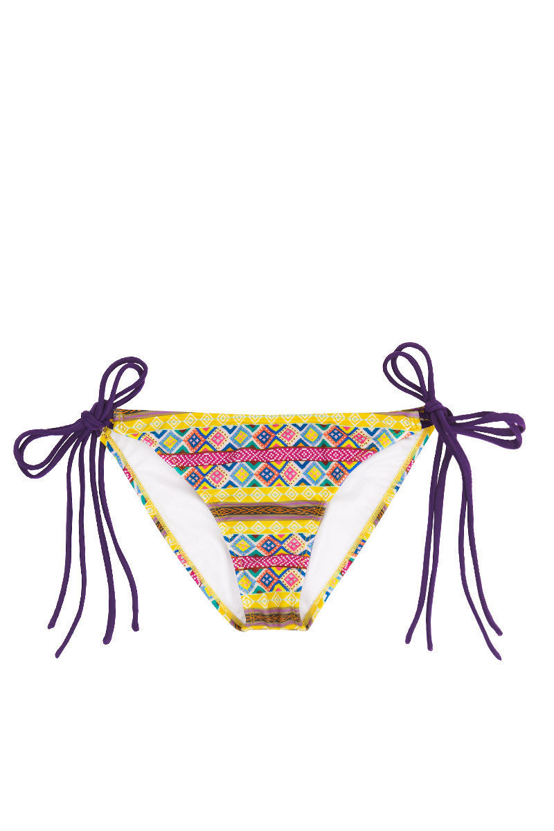 Mancora Tie Side Moderate Bikini Bottom - Amarillo