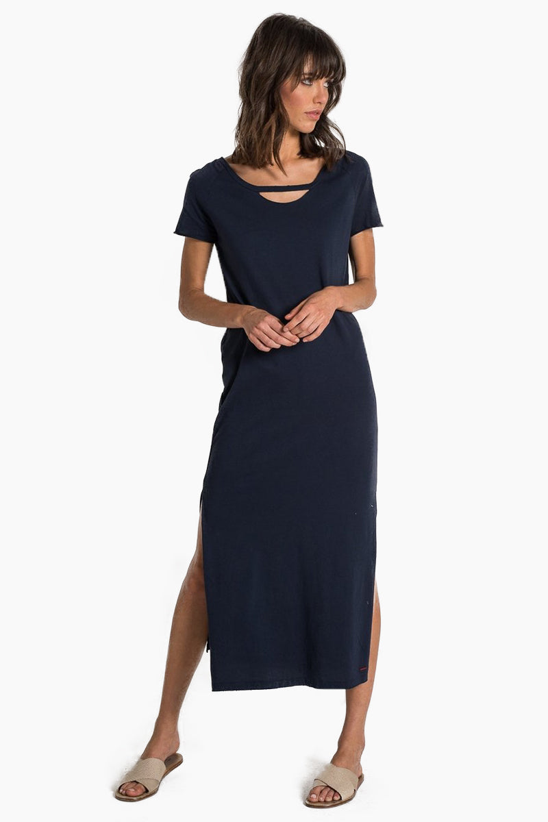 Mandalay Short Sleeve Maxi Dress - Dark Sapphire Blue