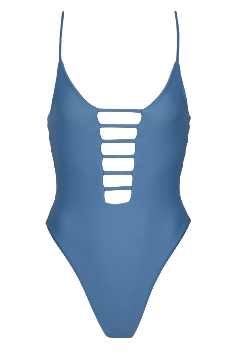 Cage Plunging High Cut One Piece Swimsuit - Hampton Blue