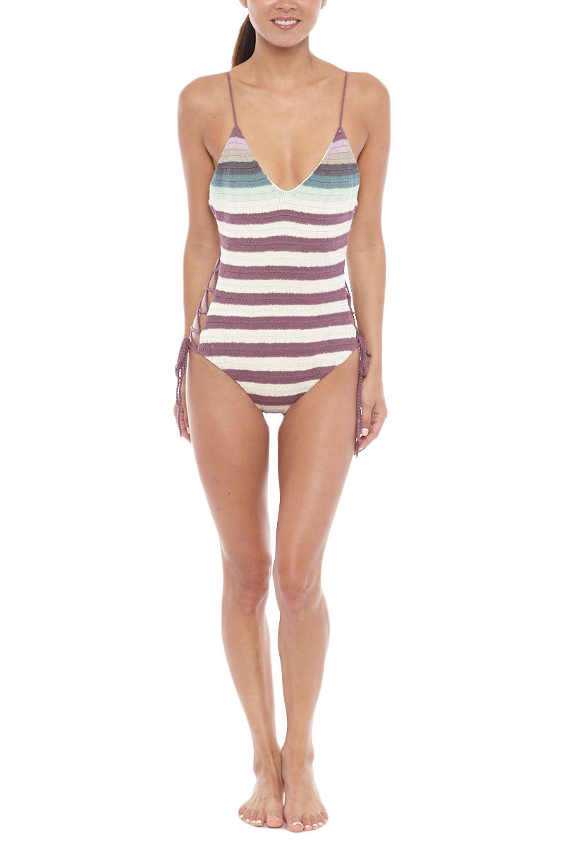 Crochet Lace Up Sides One Piece Swimsuit - Sage Green & Purple Stripe Print