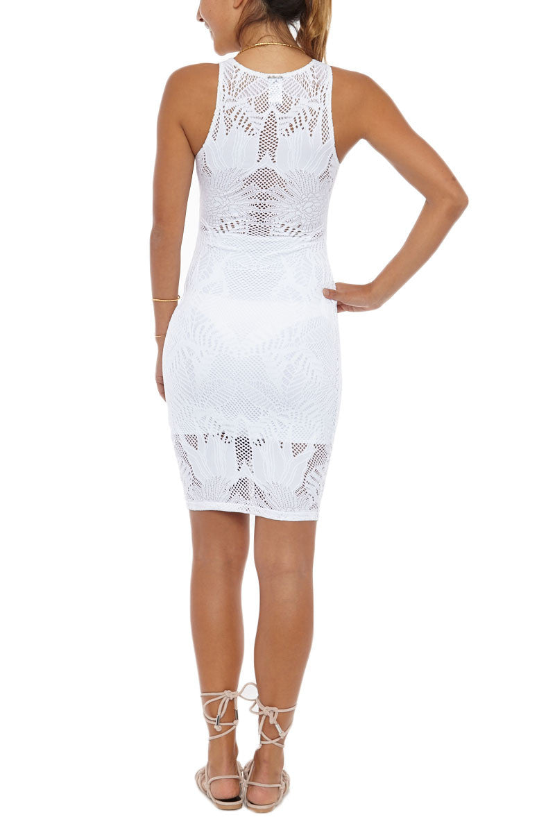 MARA HOFFMAN Fitted Midi Dress Cover Up | White Floral Jacquard|Mara Hoffman Fitted Midi Dress