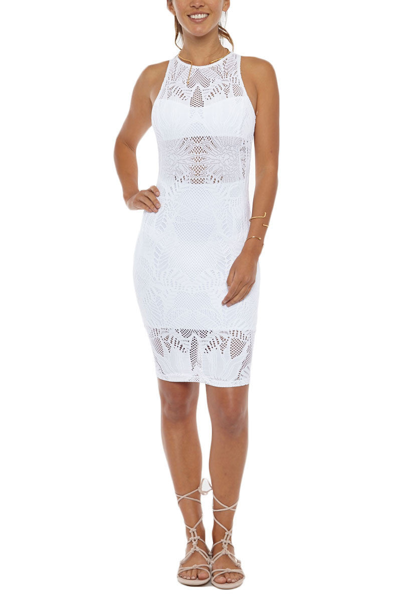 Fitted Midi Dress - White Floral Jacquard