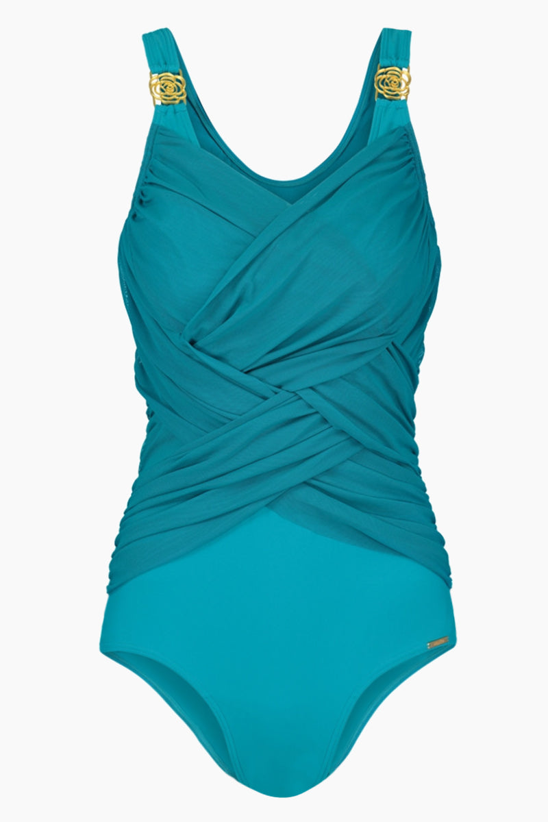 Margaritha Pleated One Piece Swimsuit (Curves) - Aqua Blue