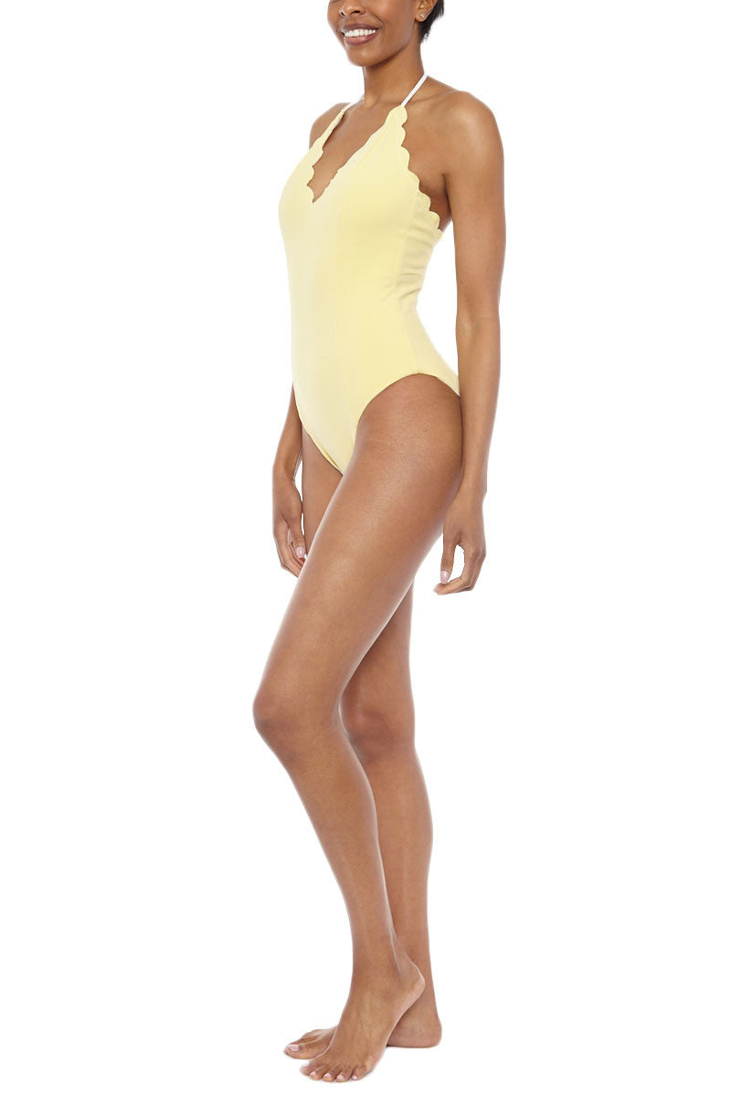 MARYSIA Broadway Maillot One Piece One Piece | Off White/Sunlight Yellow|Marysia Broadway Maillot Reversible One Piece