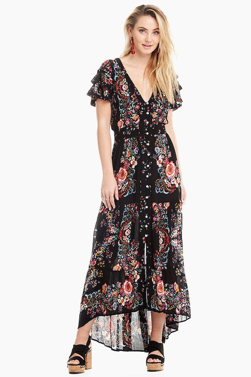 Ruffle Sleeve Button Up Maxi Dress - Black Floral Print