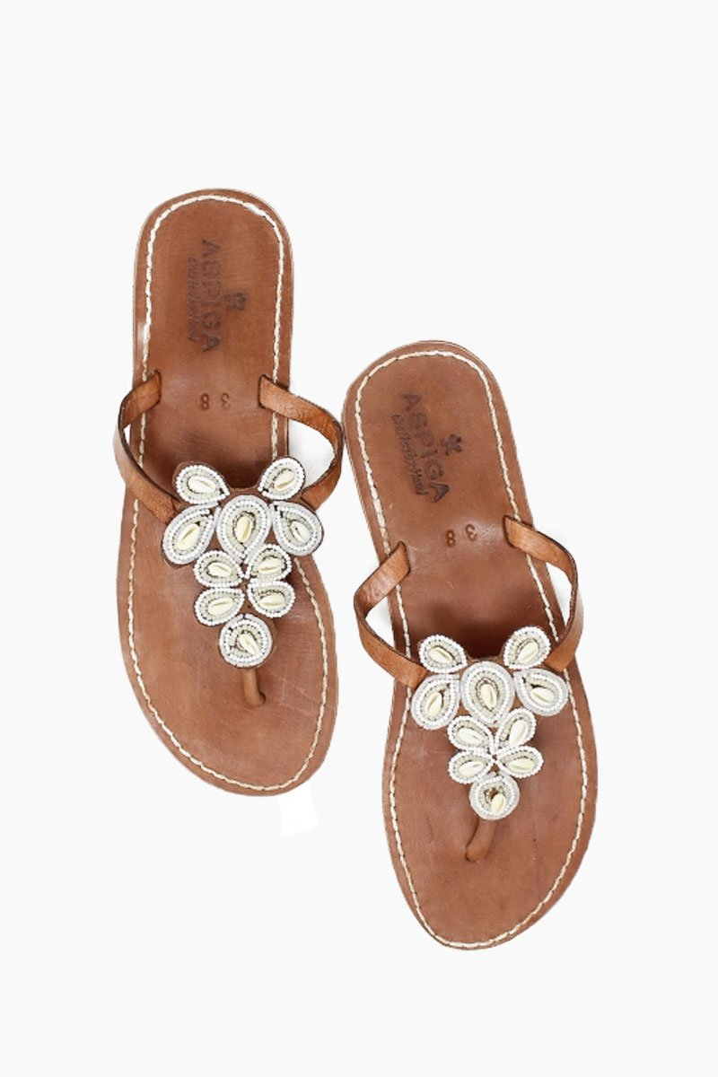 Mia Sandals - White W/ Shells