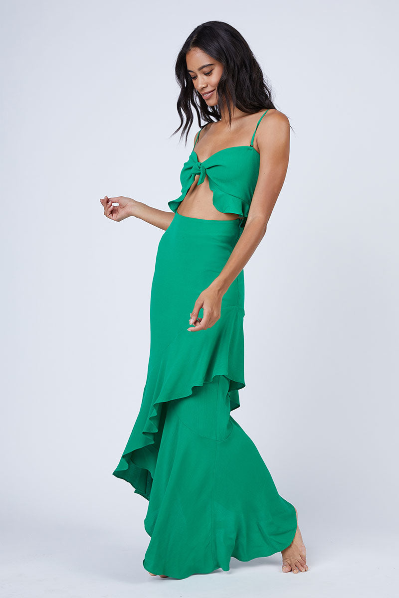 Michelle Cut Out Knot Front Maxi Dress - Jolly Green