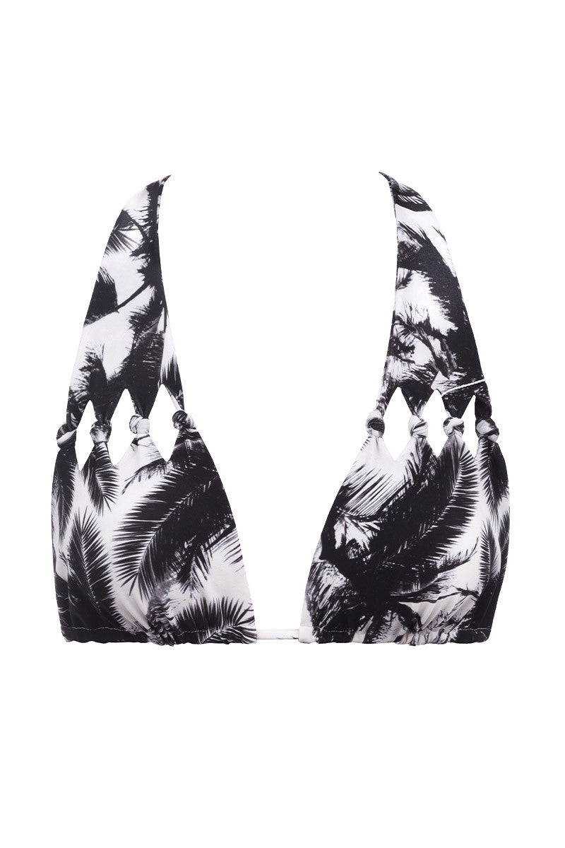 Hilo Cut Out Knot Bikini Top - Polynesian Palm Print
