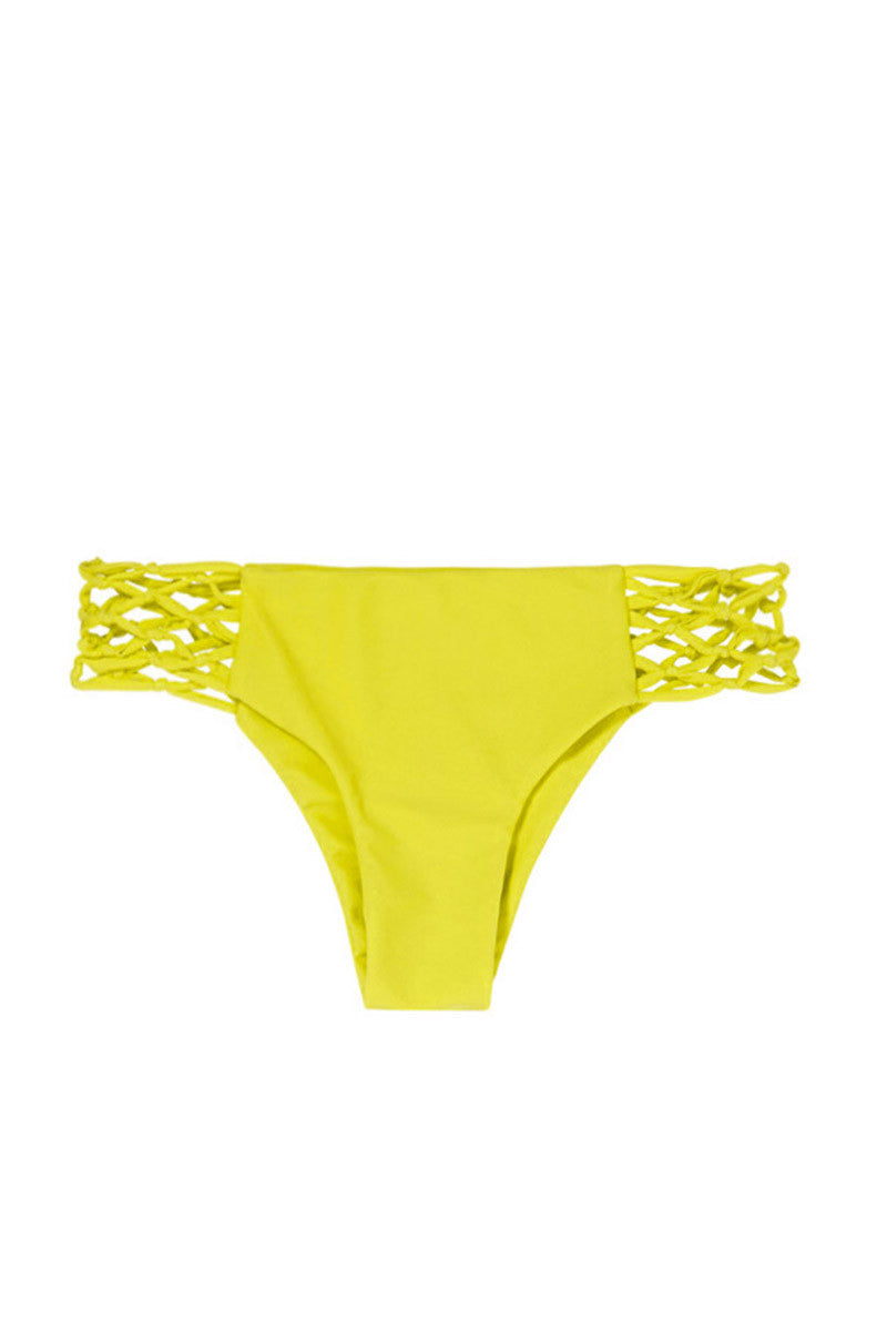 Rockies Crochet Sides Cheeky Bikini Bottom - Starfruit Yellow