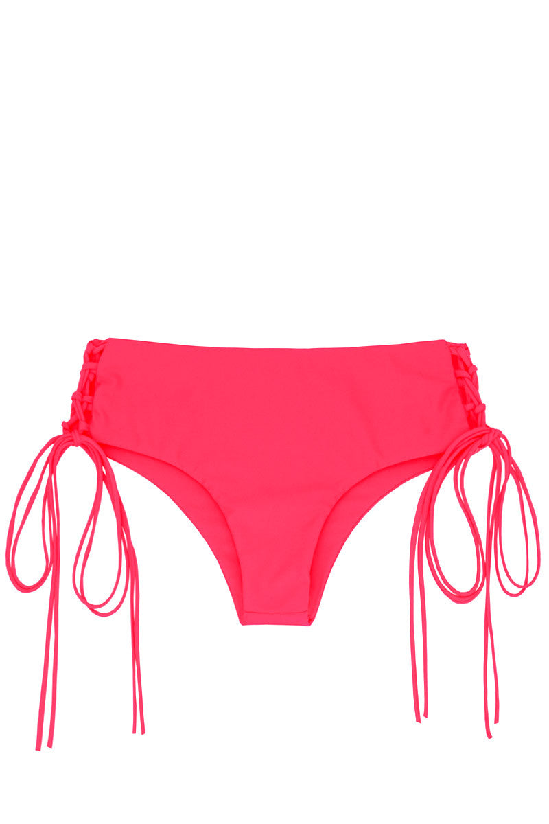 Vanuatu Lace-Up Sides Cheeky Bikini Bottom - Tropical Pink