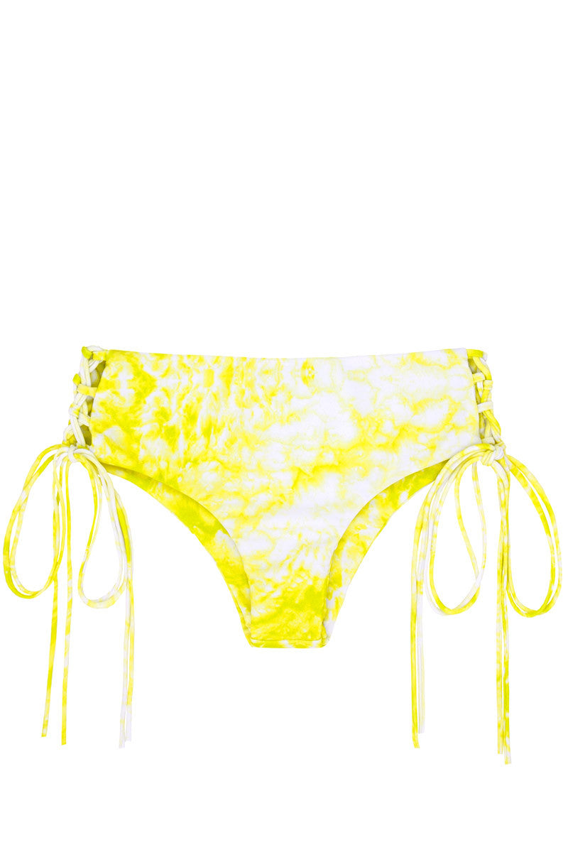 Vanuatu Lace-Up Sides Cheeky Bikini Bottom - Whitewater Plumeria Yellow Tie Dye Print