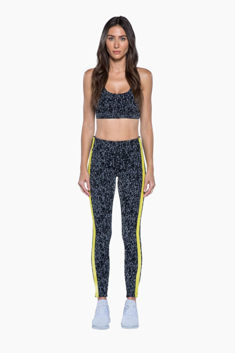 Molecular Wren High Rise Leggings - Black & Neon Yellow Geometric Print