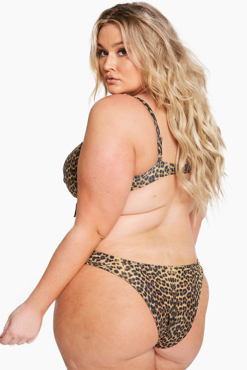 Monaco Cheeky Bikini Bottom (Curves) - Leopard Animal Print