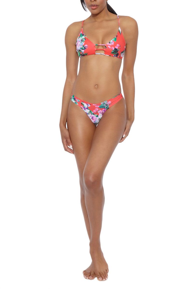 Cage Strappy Cut Out Bikini Top - Red Floral Print