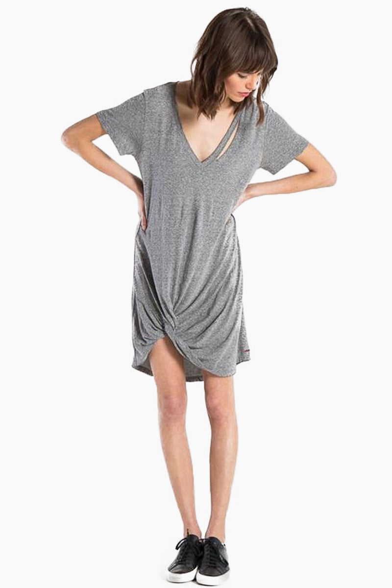Morrison Distress Short Sleeve Mini Dress - Heather Grey