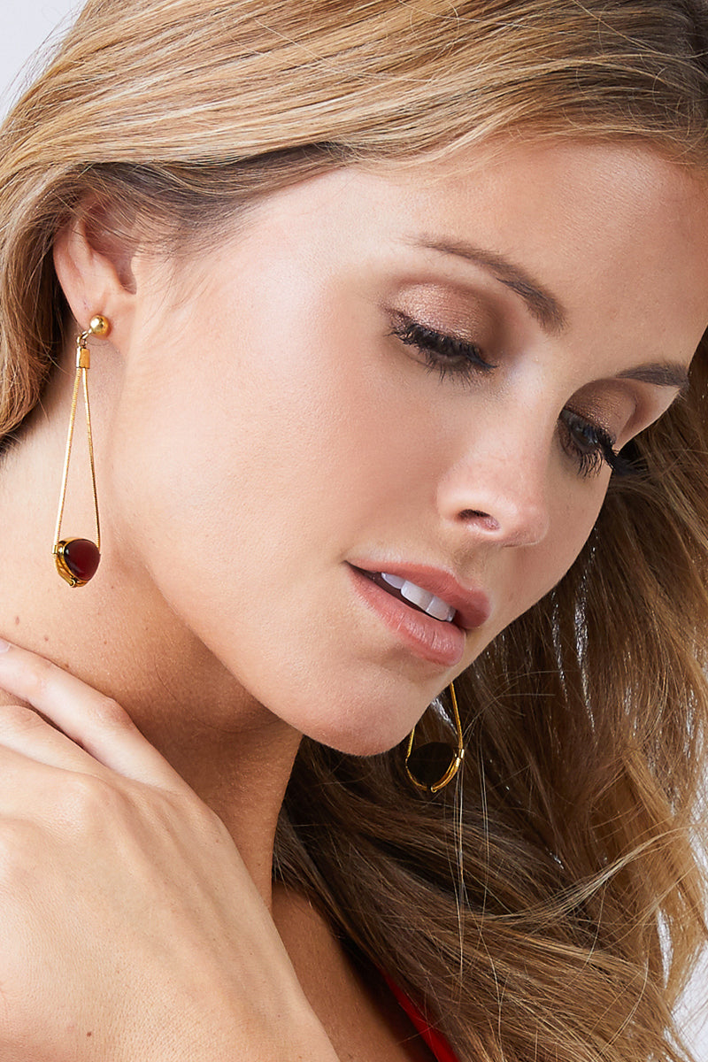 Najila Red Quartz Pendant Gold Drop Earrings