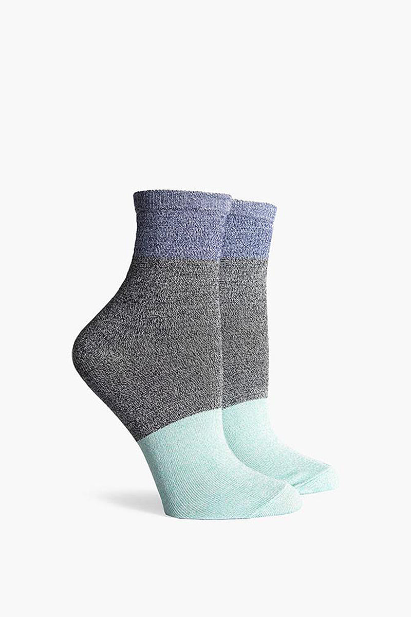 Riker Color Block Ankle Socks - Light Blue/Black/Navy Blue