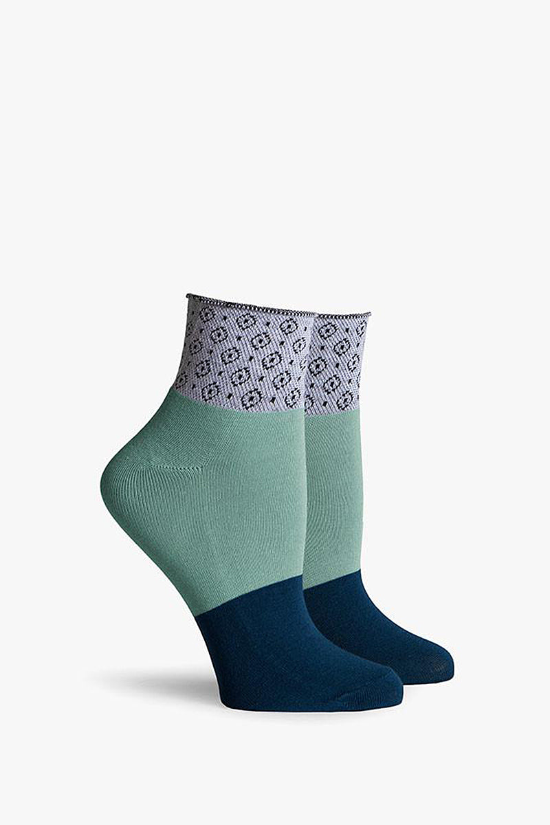 Celina Color Block Ankle Socks - Navy Blue/Mint Green/Grey