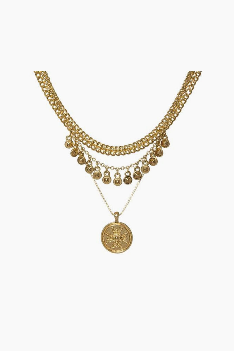Noa Coin Charm Necklace - Gold