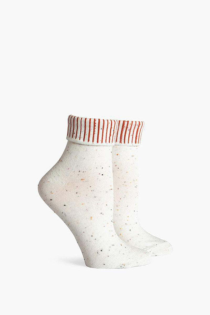 Nori Fold Top Ankle Socks - Cream White & Rust Orange