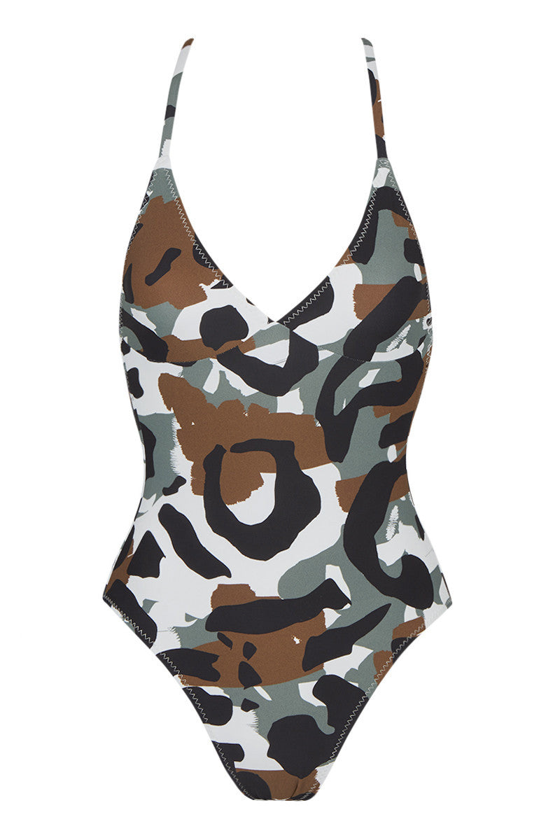 d47cb7b916 NORMA KAMALI Slip Mio Criss Cross One Piece Swimsuit - Leopard Camo Print - undefined  undefined ...