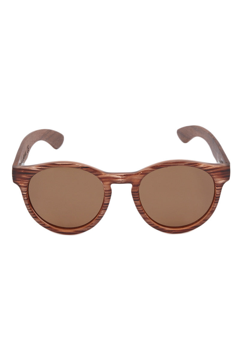 Premium Bubinga Wood Temple Sunglasses - Brown