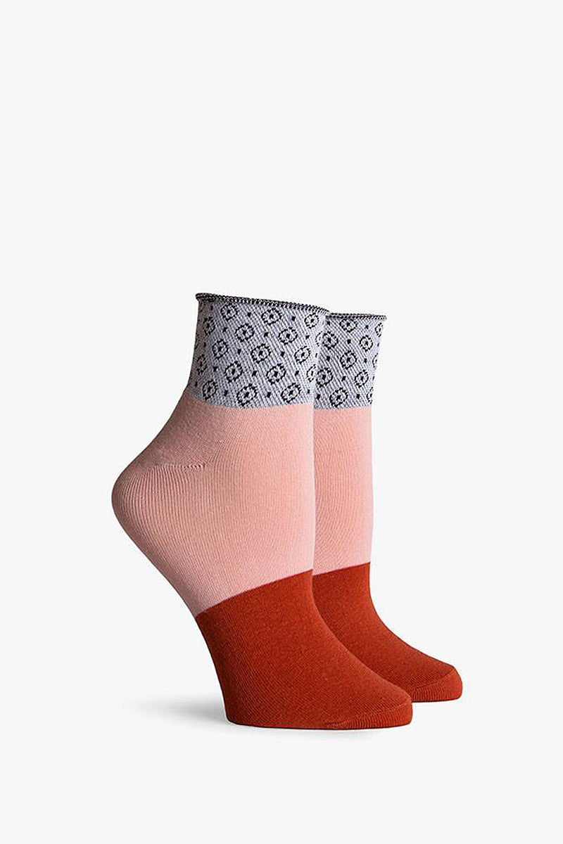 Celina Color Block Ankle Socks - Rust Orange/Light Pink/Grey