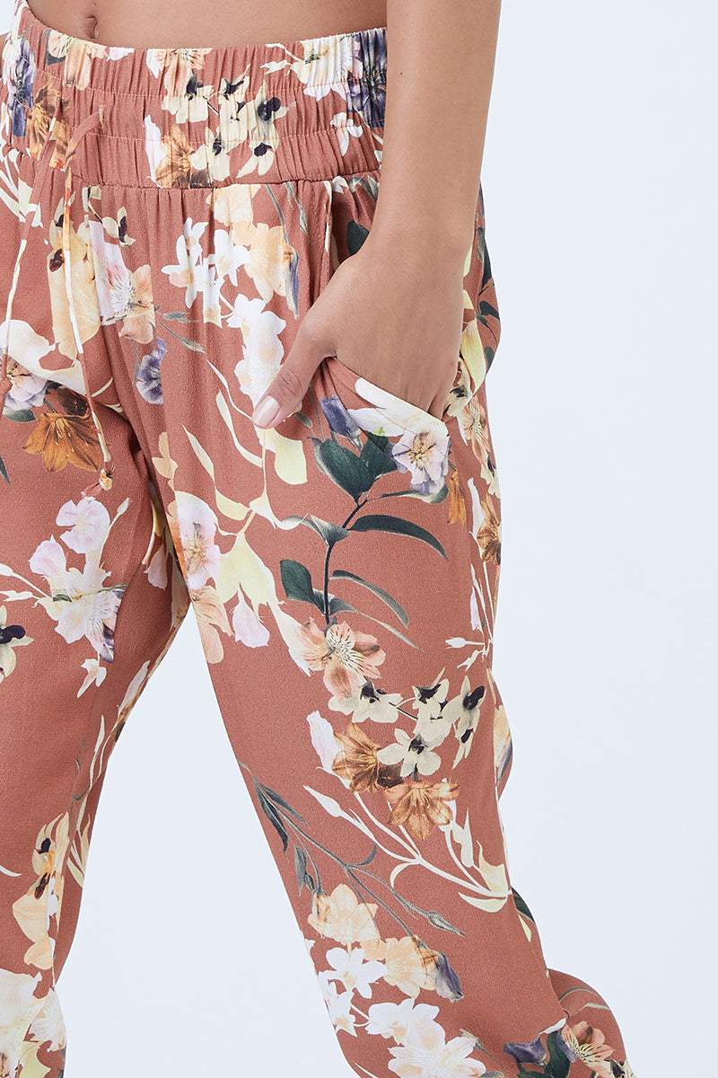 Over & Out Pants - Dirty Dancing Orange Floral Print