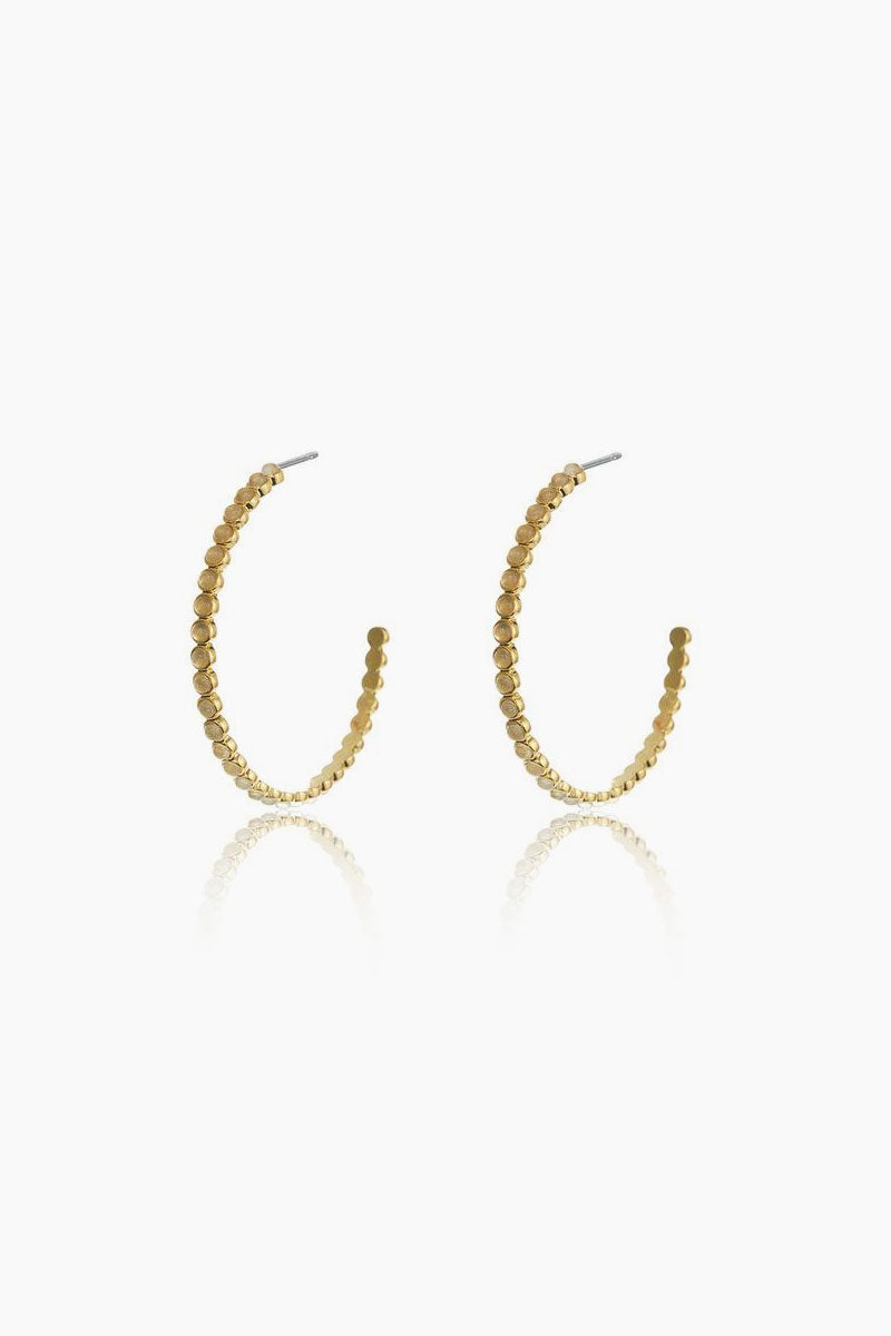 The Oversized Quartz Stud Hoop Earrings - Gold