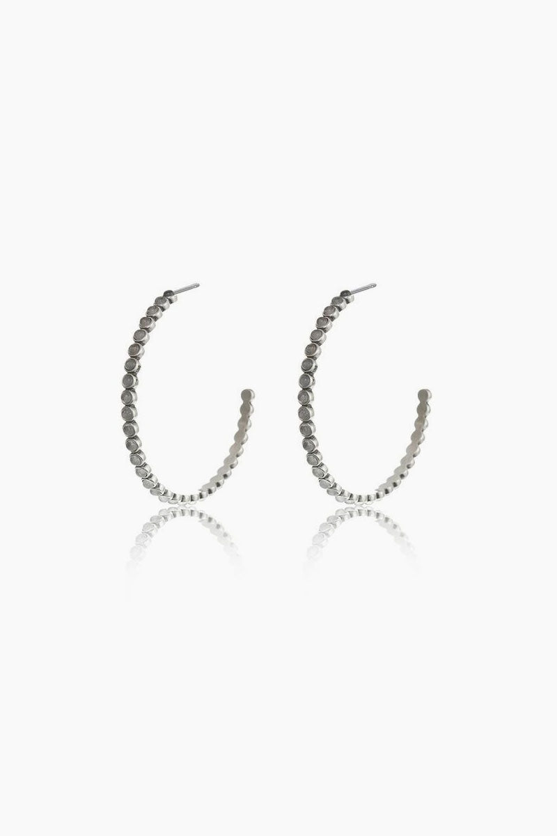 The Oversized Quartz Stud Hoop Earrings - Silver