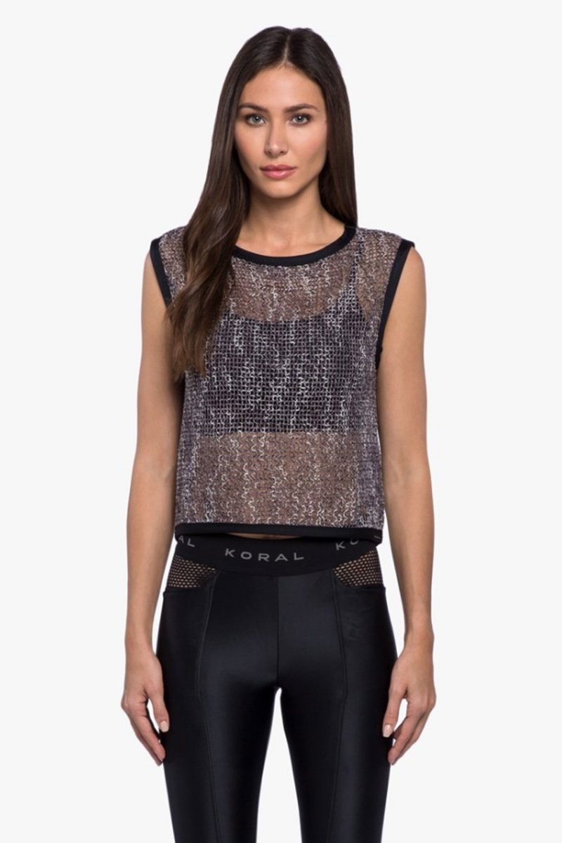 Phosphenes Plexus Mesh Crop Top - Black