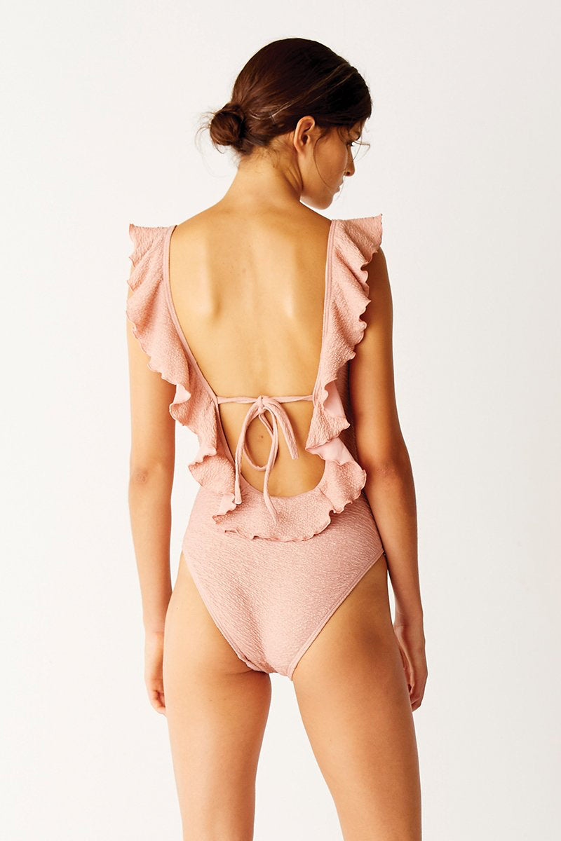 Frill Scoop Textured One Piece Swimsuit - Pink Sands