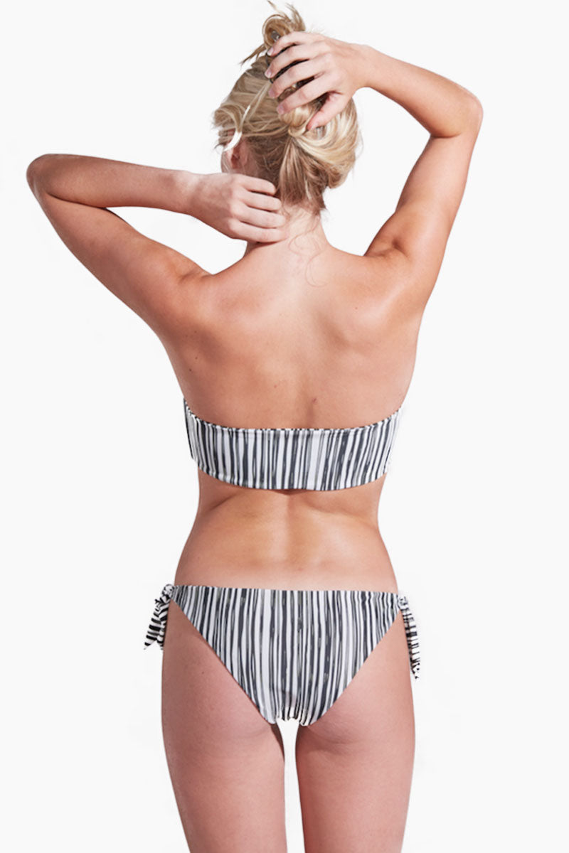Eva Tie Side Moderate Bikini Bottom - Monochrome Stripe Print