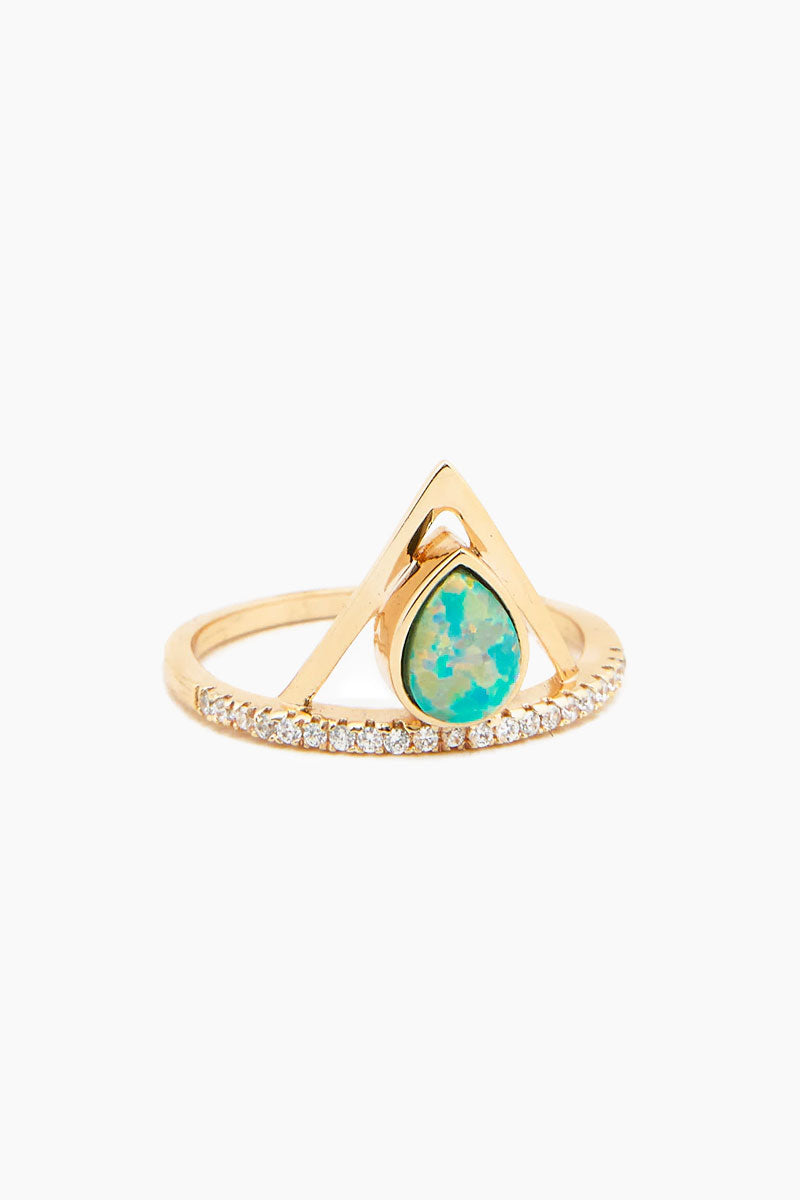 Pave Triangle Ring - Aqua Opal