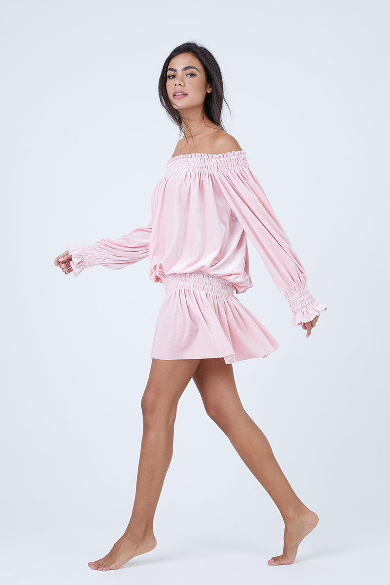 Off Shoulder Velvet Peasant Dress - Dusty Pink