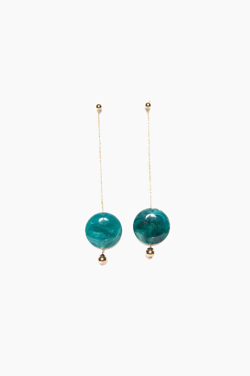 Pendulum Duster Earrings - Gold Emerald