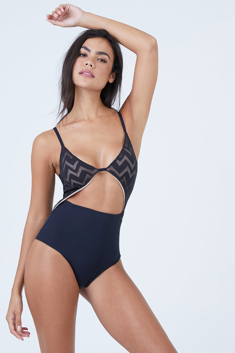 Penelope Textured Center Cut Out One Piece Swimsuit - Black Chevron Print