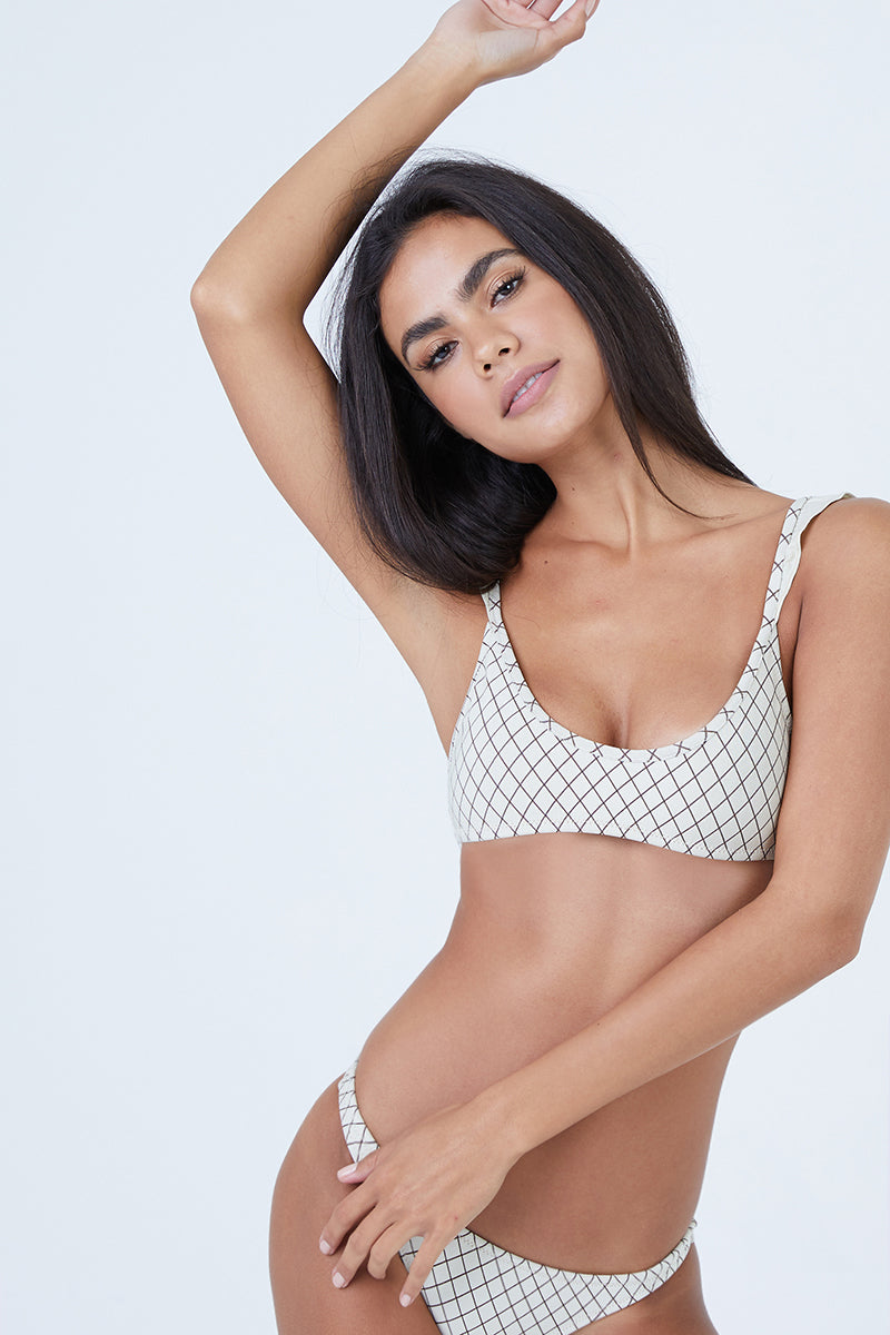 36b3faec36 MADE BY DAWN Petal Ruffle Cap Sleeves Bikini Top - Grainline Lattice - undefined  undefined ...