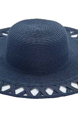 PIA ROSSINI Carla Hat - Navy Hat | Navy| Pia Rossini Carla Hat Large Wide Brim Floppy Straw Hat Cut Outs on Brim Shapeable for Packing Lightweight and Durable 22.4 x 4. 3 x 5.5 inches