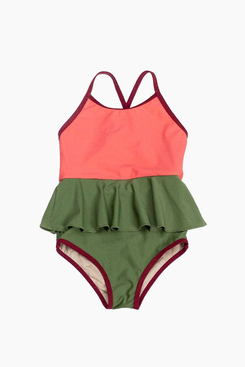 Mini Federica Color Block Ruffle Skirt One Piece Swimsuit (Kids) - Sugar Coral Pink/Vineyard Green