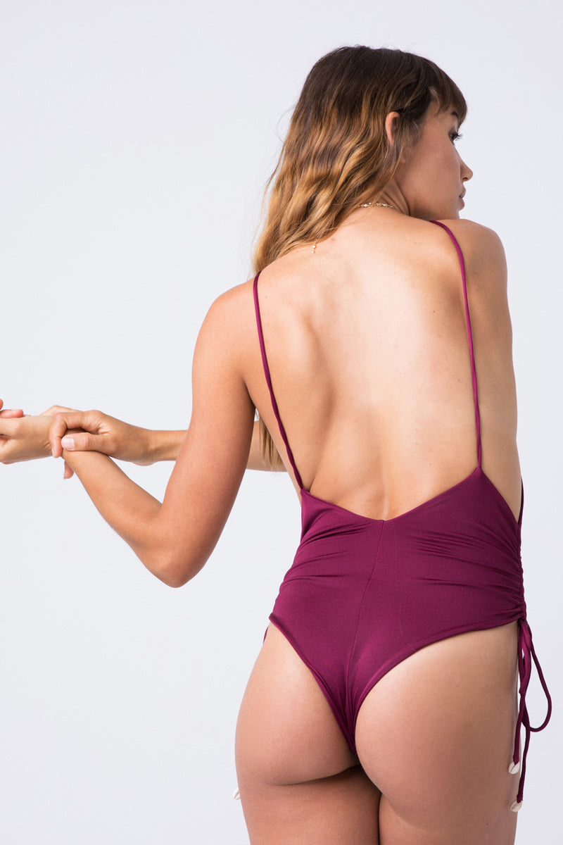 0d04a9cd1d ... INDAH Playground Cinched Tie Side One Piece Swimsuit - Bordeaux Wine  Red - undefined undefined