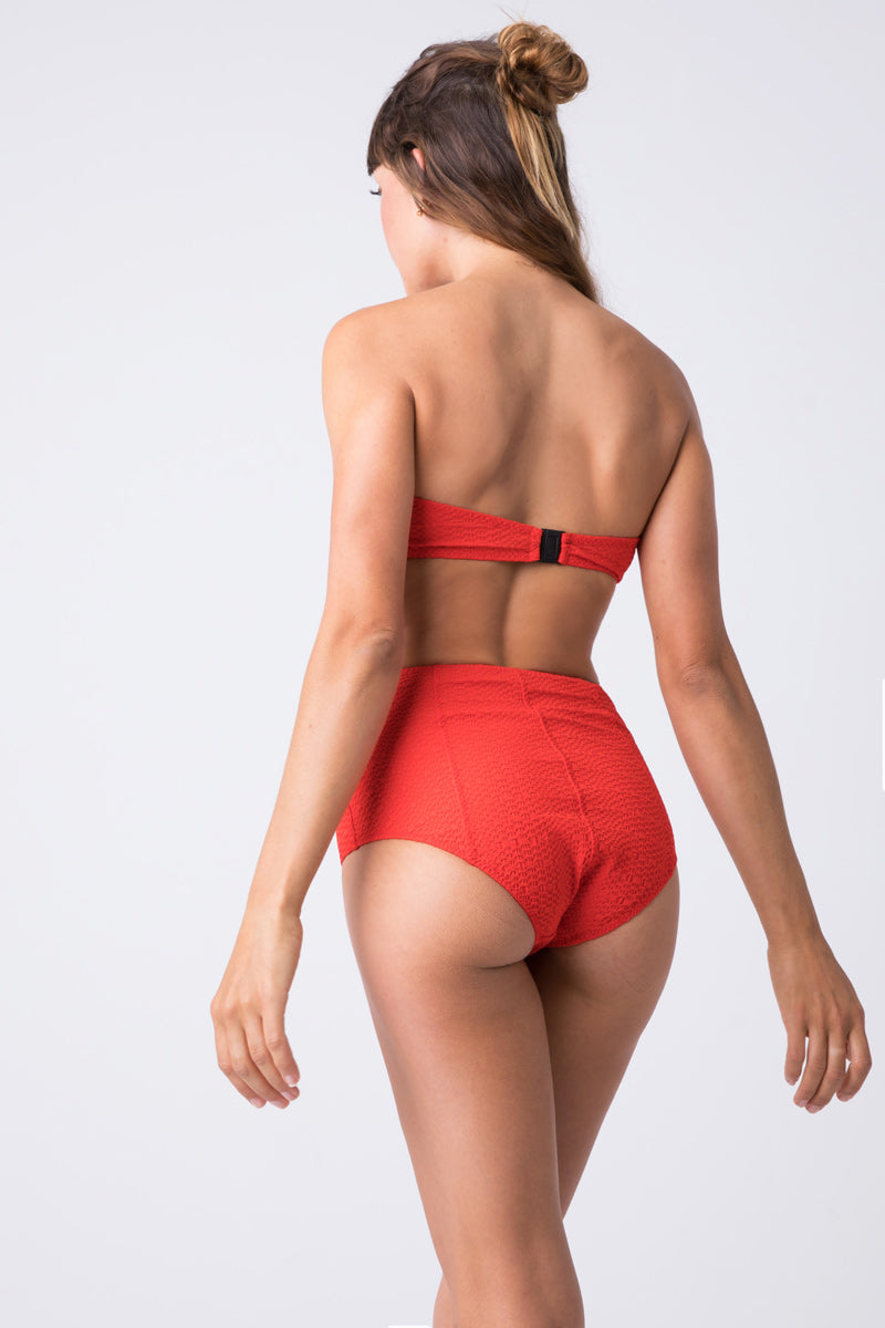 Poppy Seersucker Button Front High Waist Bikini Bottom - Tomato Red