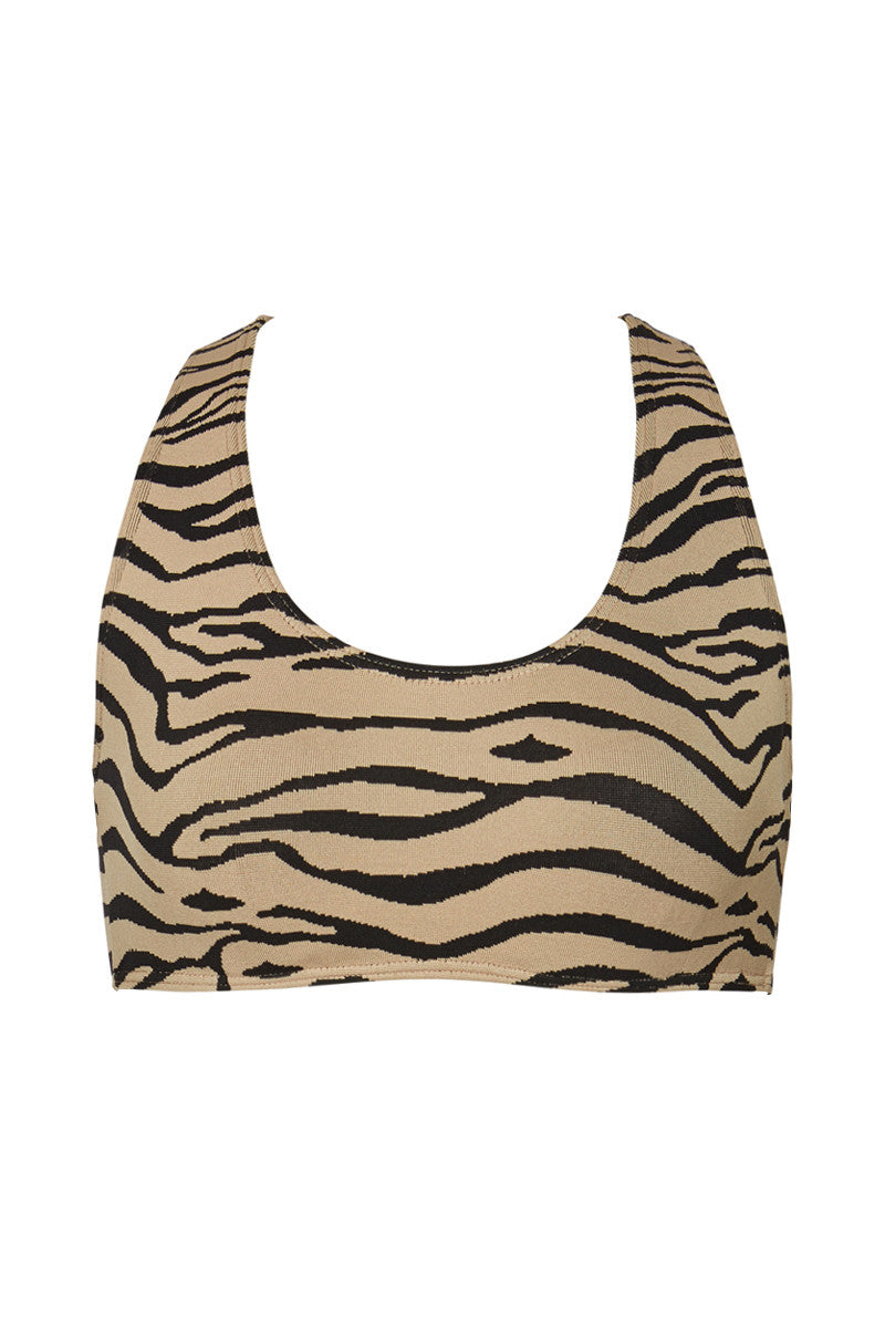 Manhattan Beach Racerback Bikini Top - Tiger Print
