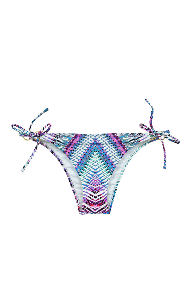 Stringer Tie Side Cheeky Bikini Bottom - Purple Rain Abstract Print