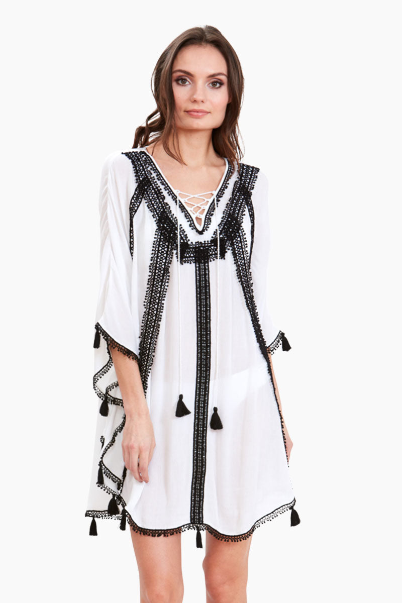 Vintage Riviera Lace Tunic - White/Black