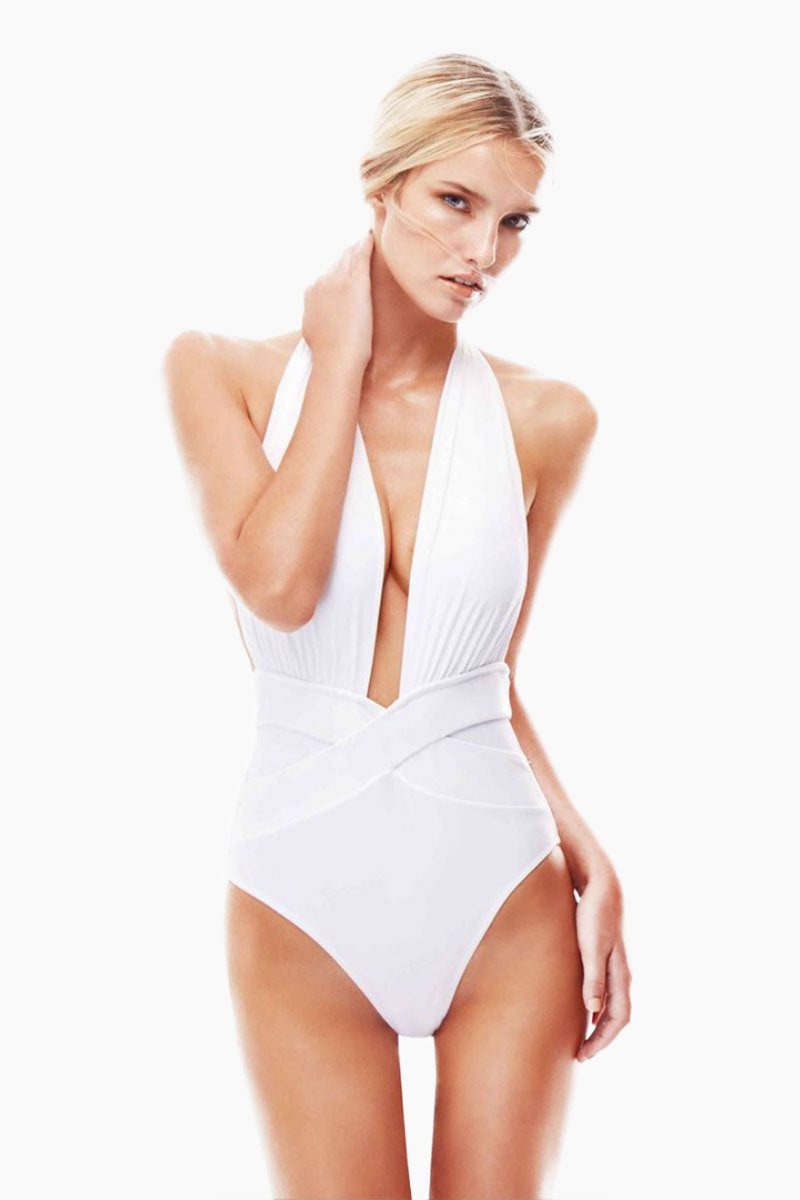 Roman Plunge One Piece Swimsuit - White