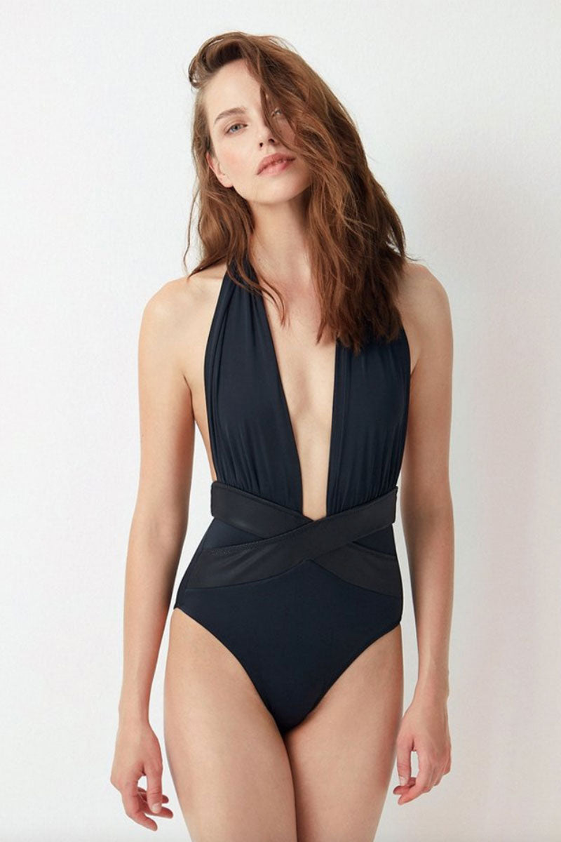 a5a44918dd3 ... OYE SWIMWEAR Roman Plunge Halter One Piece Swimsuit - Black - undefined  undefined
