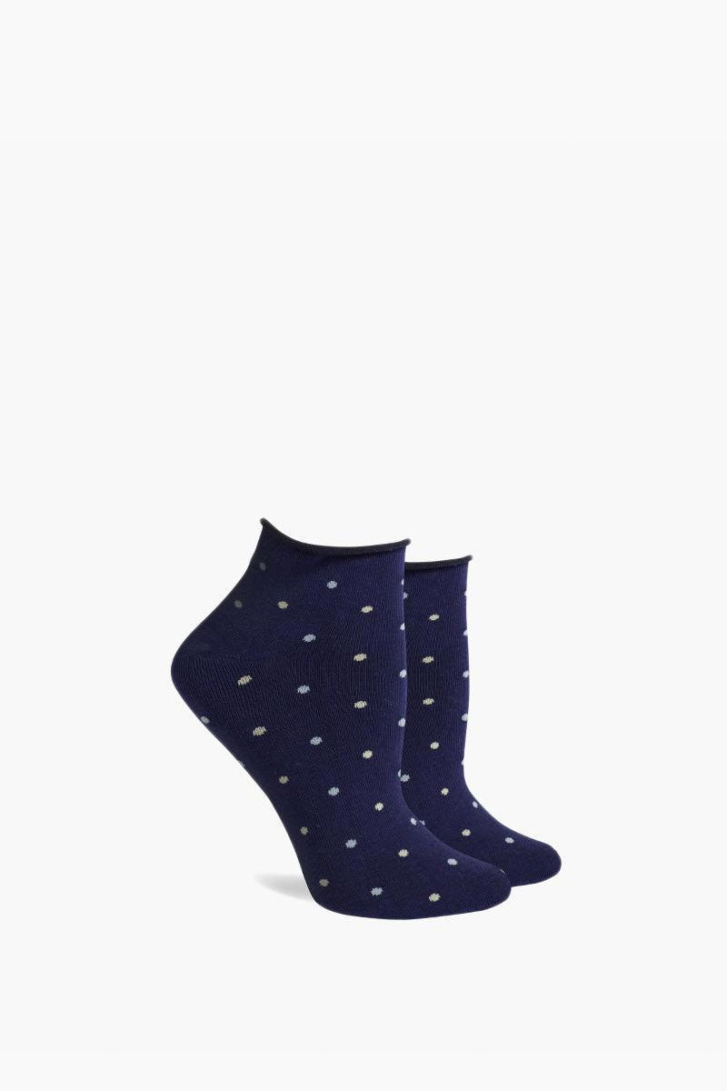 Rose Low Top Roll Socks - Navy Blue Polka Dot Print