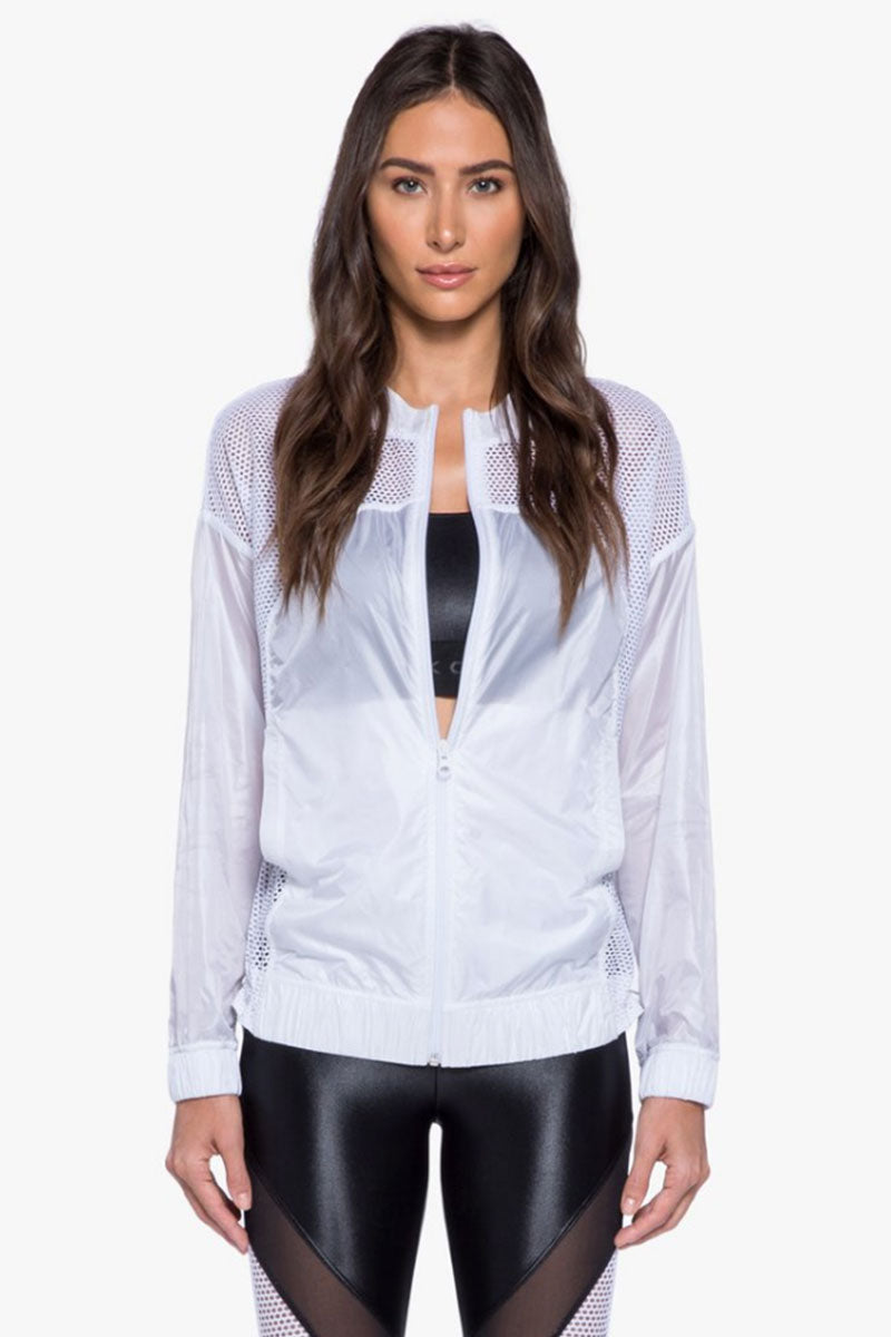See-Through Mesh Zipper Front Jacket - White